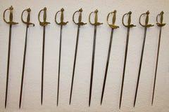 Seize épées d'Espagnol de siècle Images libres de droits