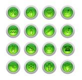 Seize boutons verts Image libre de droits