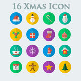 Seize d'icônes de Noël dans le style d'appartement Images stock