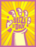 Seize the day hand catching the sun carpe diem concept illustration Royalty Free Stock Photo