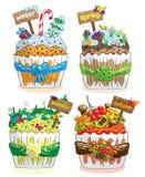 Seizoenen cupcakes op een witte achtergrond Royalty-vrije Stock Afbeelding