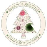 Seizoenen die sticker met Kerstmisboom begroeten Stock Afbeelding