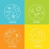 seizoenen Het weer in de winter, de lente, de zomer en de herfst De ronde moderne emblemen doorstaan alle seizoenen Royalty-vrije Stock Fotografie