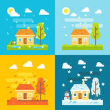 4 seizoenen huisvesten vlakke ontwerpreeks Stock Foto's