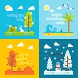 4 seizoenen parkeren vlakke ontwerpreeks Stock Afbeeldingen