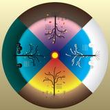 4 seizoenenconcept, de de herfstwinter van de de zomerlente en boom royalty-vrije illustratie