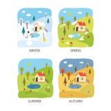 4 seizoenenlandschap Stock Afbeelding