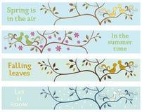 4 seizoengebonden banners Stock Foto's