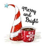 Seizoengebonden beweging veroorzakende, abstracte Kerstmisboom rode kop van koffie en tekst Vrolijke en Heldere, vectorillustrati Stock Fotografie