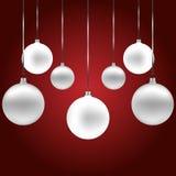 Seizoengebonden Kerstmisachtergrond met snuisterijdecoratie Stock Foto's