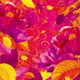 Seizoengebonden pioen en bladerenachtergrond Stock Fotografie