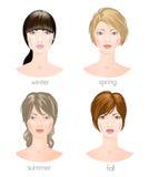 Seizoengebonden vrouwelijke types Vector Royalty-vrije Stock Foto