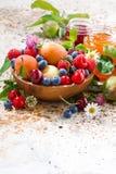 Seizoengebonden vruchten en bessen, verticale jam, Royalty-vrije Stock Afbeelding