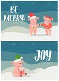 Seja alegre, feriados de inverno Joy Postcards com porcos ilustração do vetor