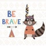 Seja cartão inspirador tribal corajoso com um guaxinim bonito Foto de Stock Royalty Free