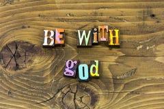 Seja com a cópia da tipografia da alegria da confiança da religião da fé do senhor do deus fotografia de stock royalty free