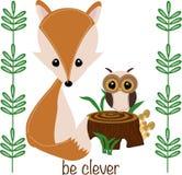 Seja inteligente pouca ilustração do vetor da raposa, eps ilustração royalty free