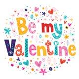 Seja meu cartão de rotulação retro da tipografia do Valentim Imagens de Stock