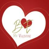 Seja meu cartão do Valentim, fundo vermelho Imagens de Stock