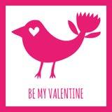 Seja meu cartão do Valentim Silhueta fantástica do rosa do pássaro em um fundo branco Fotografia de Stock