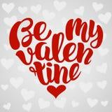Seja meu projeto de rotulação escrito à mão do Valentim dado forma no coração Ilustração do vetor Foto de Stock