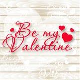 Seja meu Valentim Coração verde estilizado da ilustração do vetor Corações do vetor no fundo de madeira Imagens de Stock