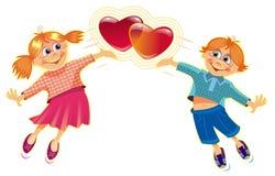 Seja meu Valentim - um par com corações Fotos de Stock Royalty Free