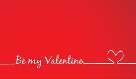 Seja meu Valentine Text - caligrafia feito a mão ilustração do vetor
