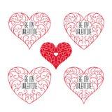 Seja meus crachás do Valentim Quadros no estilo do esboço em um fundo branco Foto de Stock Royalty Free