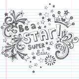 Seja um projeto esboçado do vetor dos Doodles da escola da estrela Foto de Stock Royalty Free