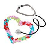 Seja vetor isométrico liso tratado do estetoscópio do coração dos cuidados médicos Foto de Stock Royalty Free
