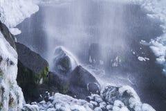 Sejlandfoss, bevroren dalingen. IJsland Royalty-vrije Stock Foto's