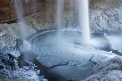 Sejlandfoss, bevroren dalingen. IJsland Royalty-vrije Stock Afbeelding