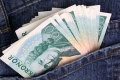 SEK Jeans. Swedish 100 Kroner notes in a jeans pocket Stock Photography