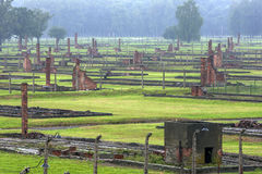 Sekcja auschwitz Koncentracyjny obóz koszaruje przy Oswiecim w Polska obrazy royalty free