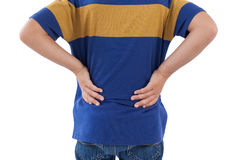 Sekcja chłopiec ma ból pleców obraz stock