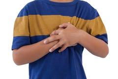 Sekcja chłopiec ma klatka piersiowa ból zdjęcia stock