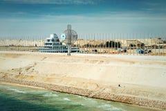 Sekcja nowy Suez ekspansi kanał, otwierająca w Sierpień 2015, Zdjęcie Royalty Free