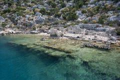 Sekcja Zapadnięty miasto Simena na Kekova wyspie zdjęcia stock