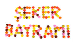 Seker Bayrami words written by colorful candy beans Royalty Free Stock Photos