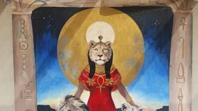 Sekhmet goddess. Mural of sekhmet egyptian goddess Stock Image