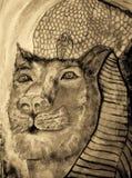 Sekhmet the lioness in sepia tones. stock illustration