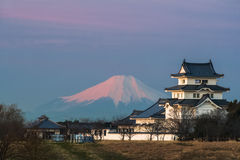 Sekiyado城堡和山富士 免版税库存图片