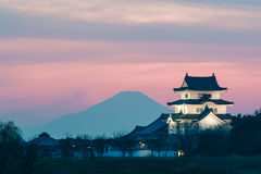 Sekiyado Castle and Mountain Fuji Royalty Free Stock Image