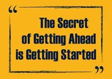Sekret dostawać naprzód dostaje zaczynać Motywacyjna wycena Wektorowy typografia plakat ilustracji