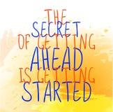` sekret dostawać naprzód dostaje zaczynać ` tekst na żółtym farby pluśnięcia tle Wektorowi pociągany ręcznie listy Pomarańcze ilustracja wektor