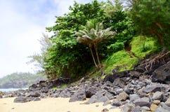 Sekret plaża, Kauapea, Kauai, Hawaje, usa obraz royalty free
