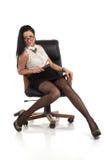 Sekretarki dziewczyna w krześle Zdjęcia Royalty Free
