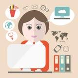 Sekretarki Wektorowa ilustracja z Biznesowymi ikonami royalty ilustracja
