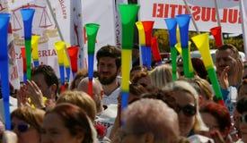 Sekretarz sądu pracy zjednoczenia protesta wiec - Bucharest, Rumunia fotografia stock